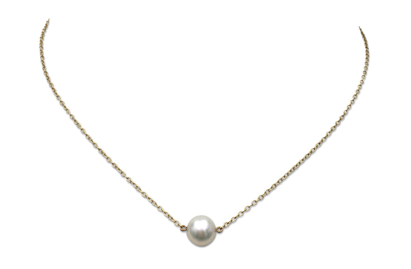 Mikimoto Gold and Single Pearl Necklace