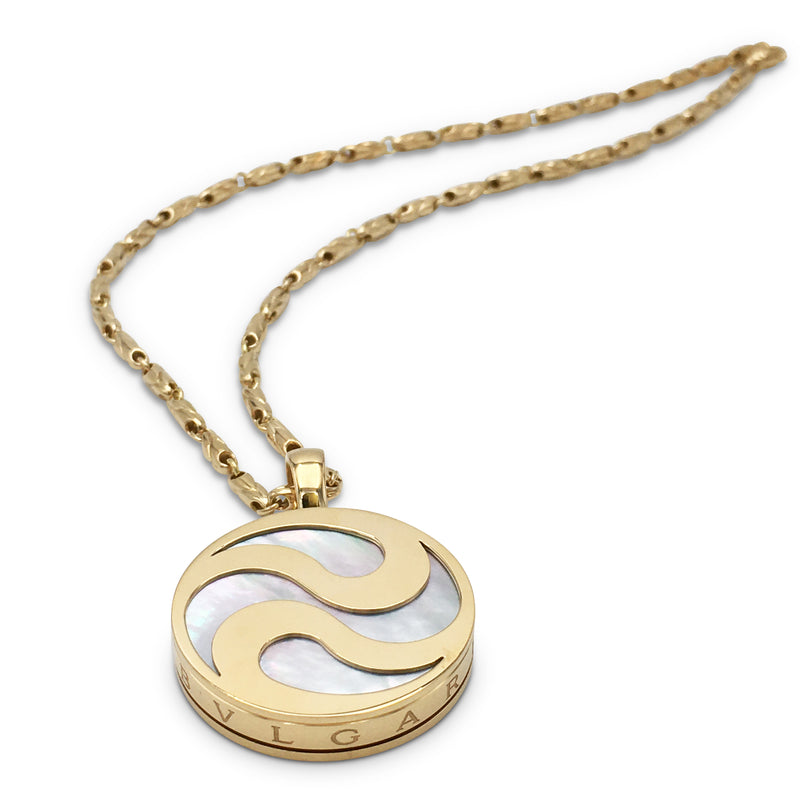 Bulgari Yin Yang Gold and Mother of Pearl Spinning Pendant Necklace