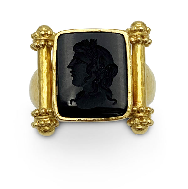 Elizabeth Locke Gold and Carved Onyx Ring