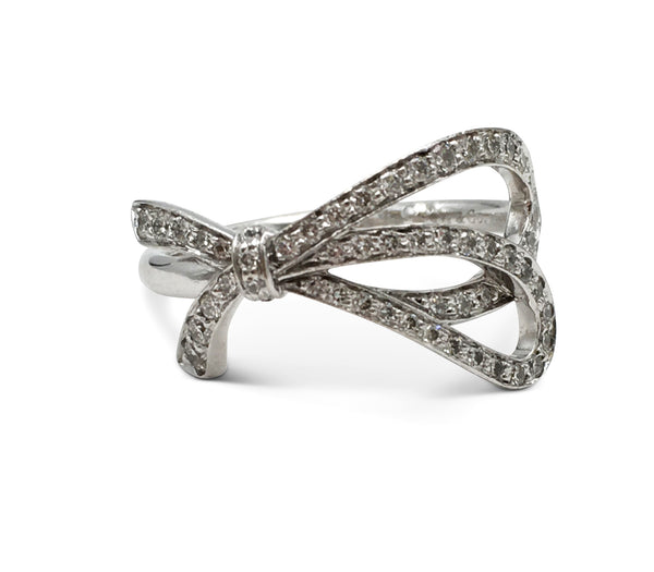 Tiffany & Co. White Gold Diamond Bow Ring