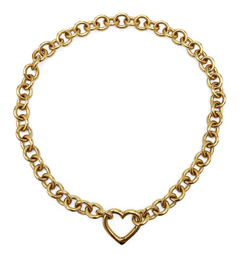 Tiffany & Co. Yellow Gold Heart Pendant Curb Link Chain Necklace
