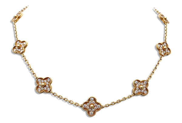 Van Cleef & Arpels Vintage Alhambra 10 Motif Diamond Necklace