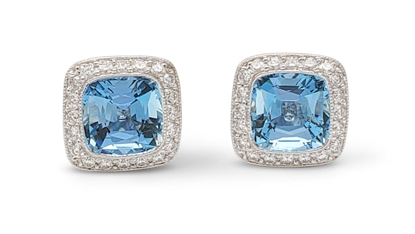 Tiffany & Co. Legacy Platinum Aquamarine and Diamond Earrings