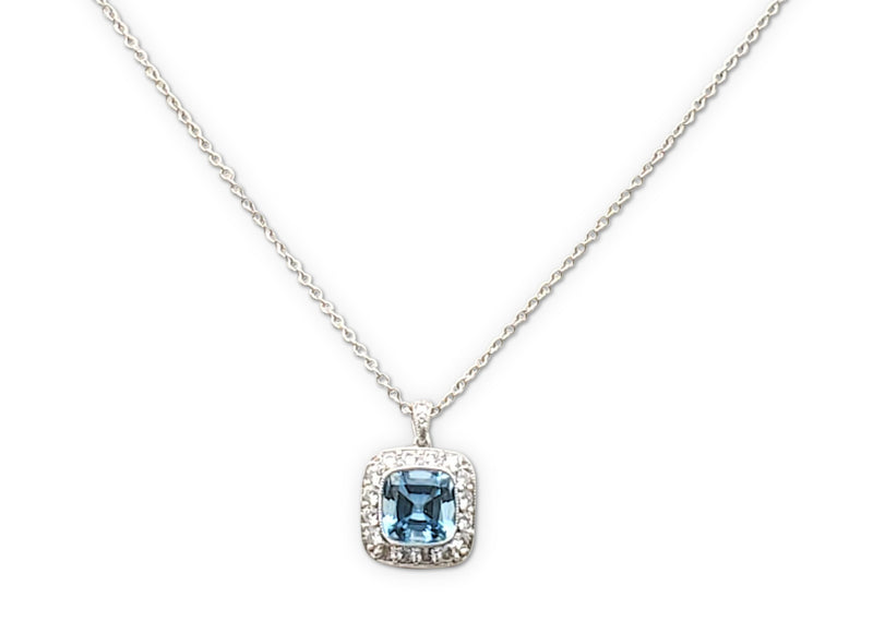 Tiffany & Co. Legacy Platinum Aquamarine and Diamond Pendant Necklace