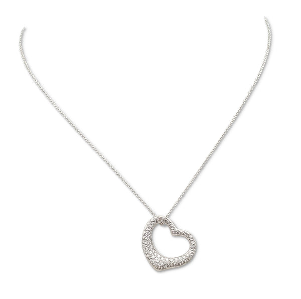 Elsa Peretti for Tiffany & Co. Open Heart Platinum Diamond Pendant Necklace