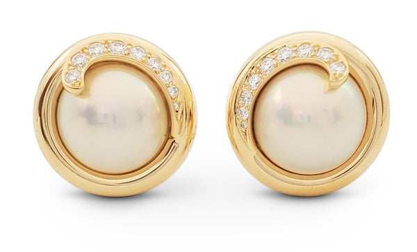 Tiffany & Co. Mabe Pearl and Diamond Earrings