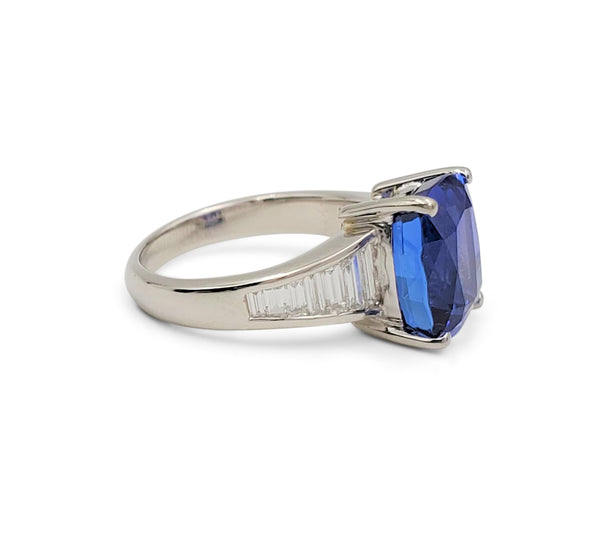 Platinum 5.68 Carat Violet-Blue Tanzanite and Diamond Ring