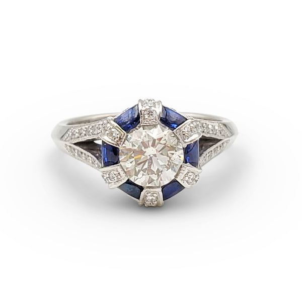 Tacori White Gold Diamond and Sapphire Halo Engagement Ring
