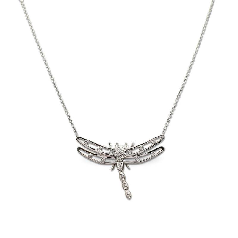 Tiffany & Co. Platinum and Diamond Dragonfly Necklace