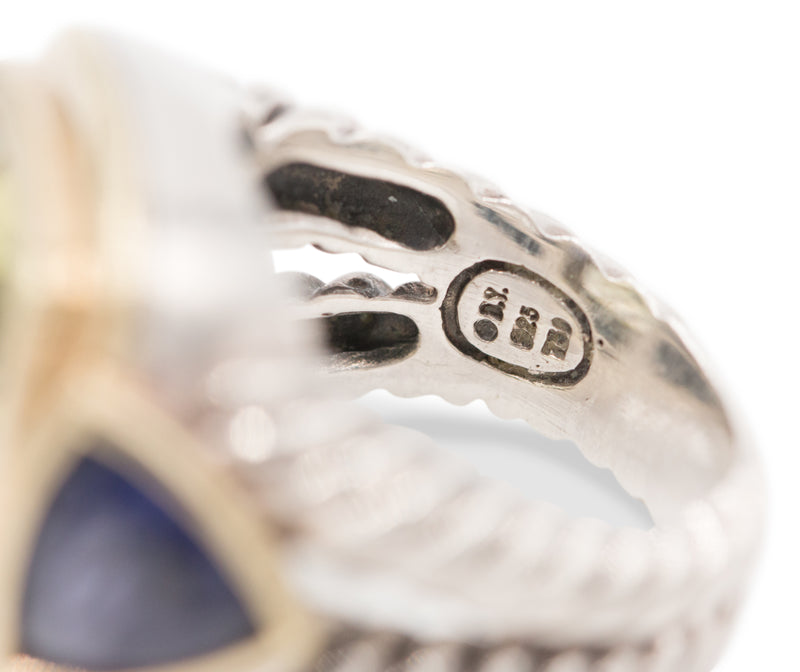 David Yurman Albion Silver and Yellow Gold Gemstone Ring