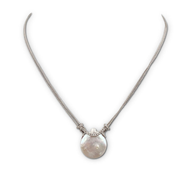 Yvel White Gold Pearl and Diamond Pendant Necklace
