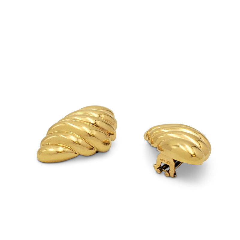 Vintage Yellow Gold Scalloped Earrings