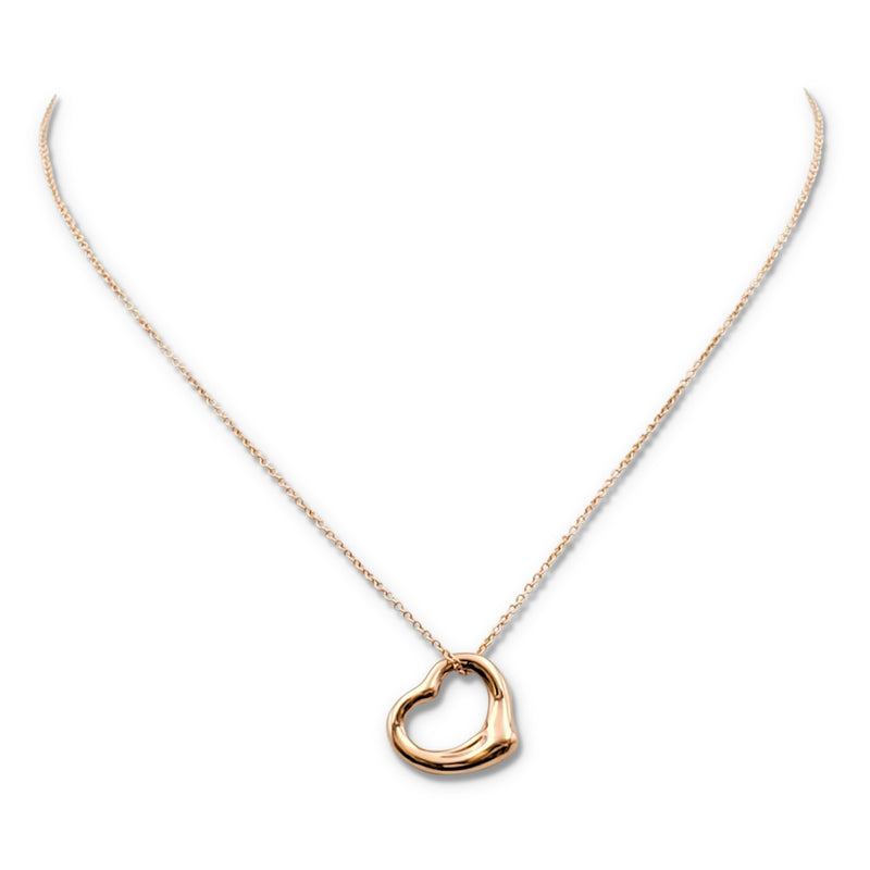 Elsa Peretti for Tiffany & Co. Open Heart Rose Gold Pendant Necklace