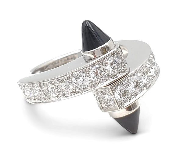 Cartier Menotte White Gold Diamond and Onyx Bypass Ring