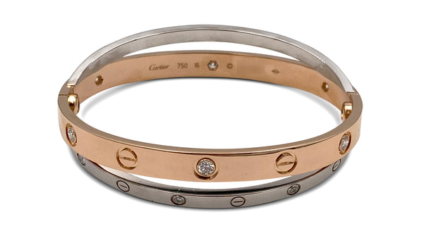 Cartier Love Rose and White Gold Diamond Bracelet