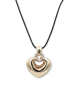 Bulgari Doppio Cuore Gold and Diamond Puffed Heart Pendant