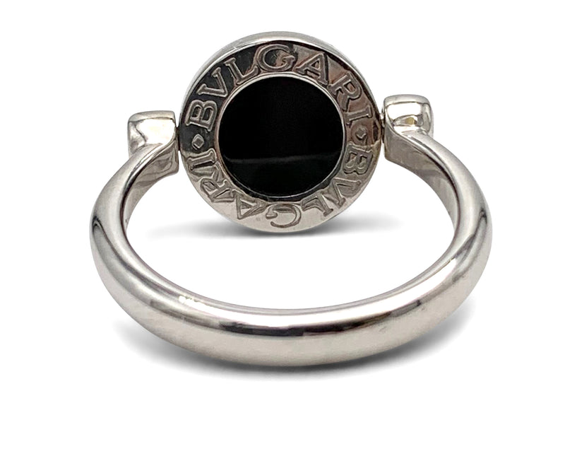 Bulgari-Bulgari White Gold Diamond Onyx Flip Ring