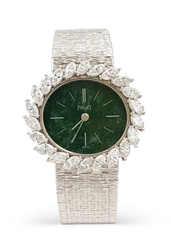 Piaget White Gold Diamond and Agate Dial Ladies Watch