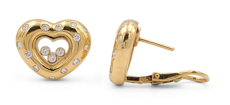 Chopard Happy Diamond Gold Heart Earrings