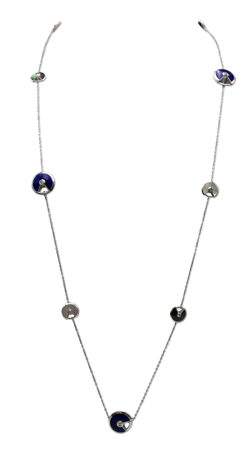 Cartier Amulette White Gold Diamond Lapis and Mother of Pearl Sautoir Necklace