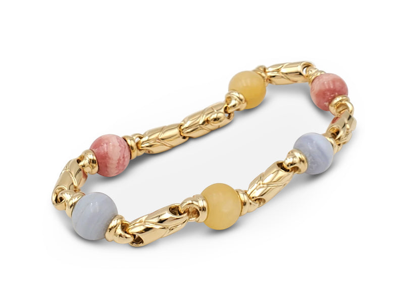 Bulgari Passo Doppio Gold and Agate Bracelet