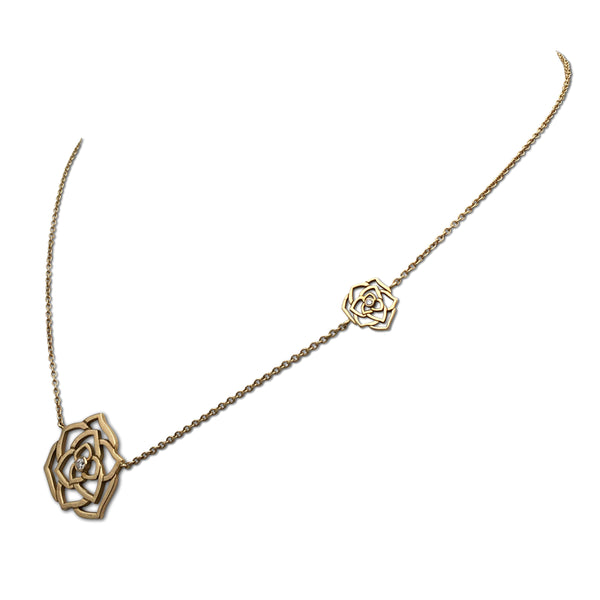 Piaget Rose Gold and Diamond Openwork Pendant Necklace