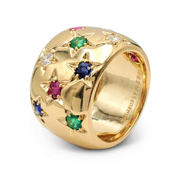 Mid-20th Century Gold Diamond and Gemstone Ring