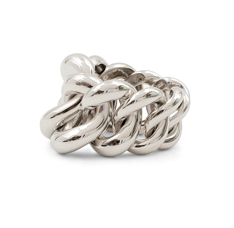 White Gold Graduated Curb-Link Ring