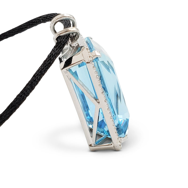 Greenish-Blue Aquamarine and Diamond Pendant