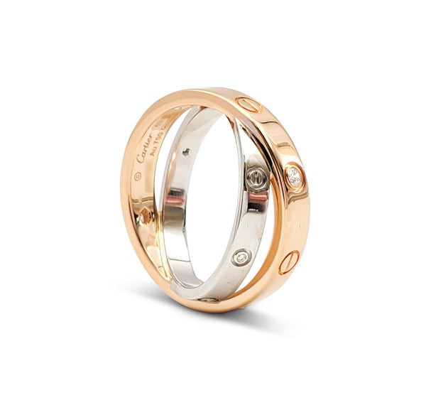 Cartier Love Rose and White Gold Diamond Ring