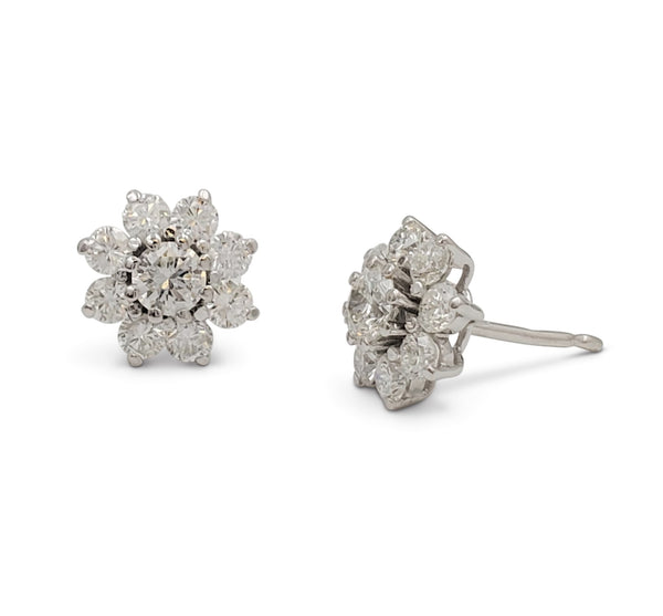 White Gold and Diamond Floral Stud Earrings