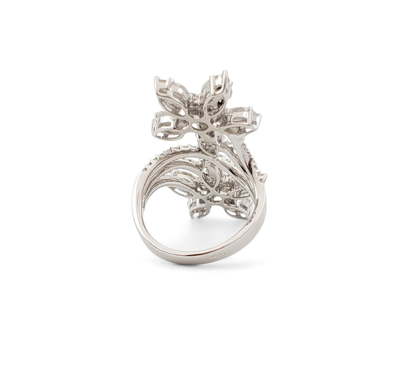 White Gold and Diamond Flower Bypass Ring
