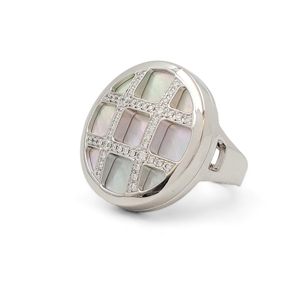 Cartier Pasha White Gold Mother of Pearl and Diamond Ring