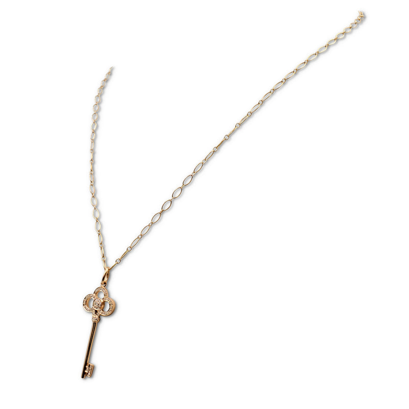 Tiffany & Co. Rose Gold and Diamond Crown Key Pendant Necklace