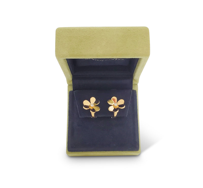 Van Cleef & Arpels Frivole Yellow Gold and Diamonds Earrings, Small Model
