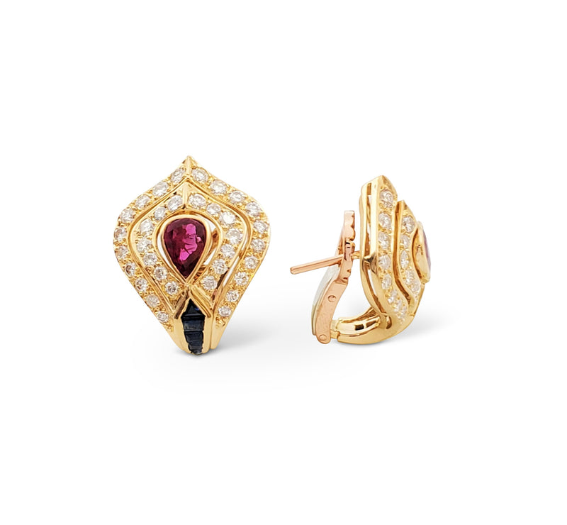 Carrera y Carrera Yellow Gold Diamond Ruby and Sapphire Earrings