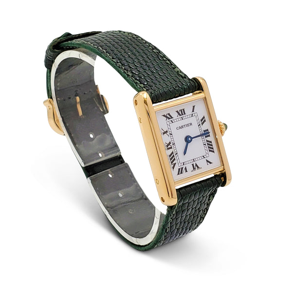 Cartier Tank Louis Yellow Gold Leather Strap Watch, Medium Model
