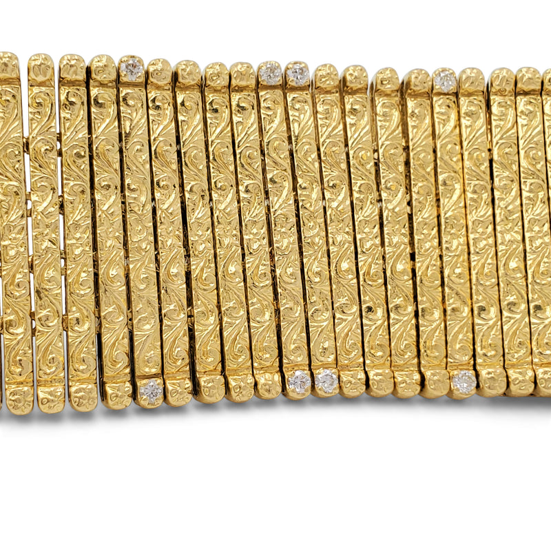 Roberto Coin Yellow Gold and Diamond Flexible Bracelet