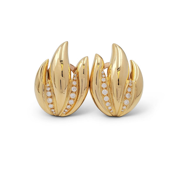 Vintage Gold and Diamond Foliate Earrings