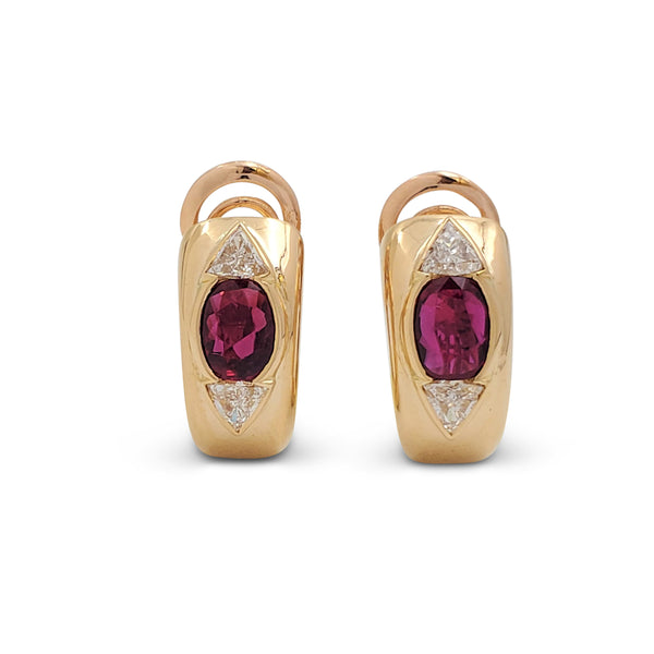 Estate Yellow Gold Ruby and Diamond Earrings