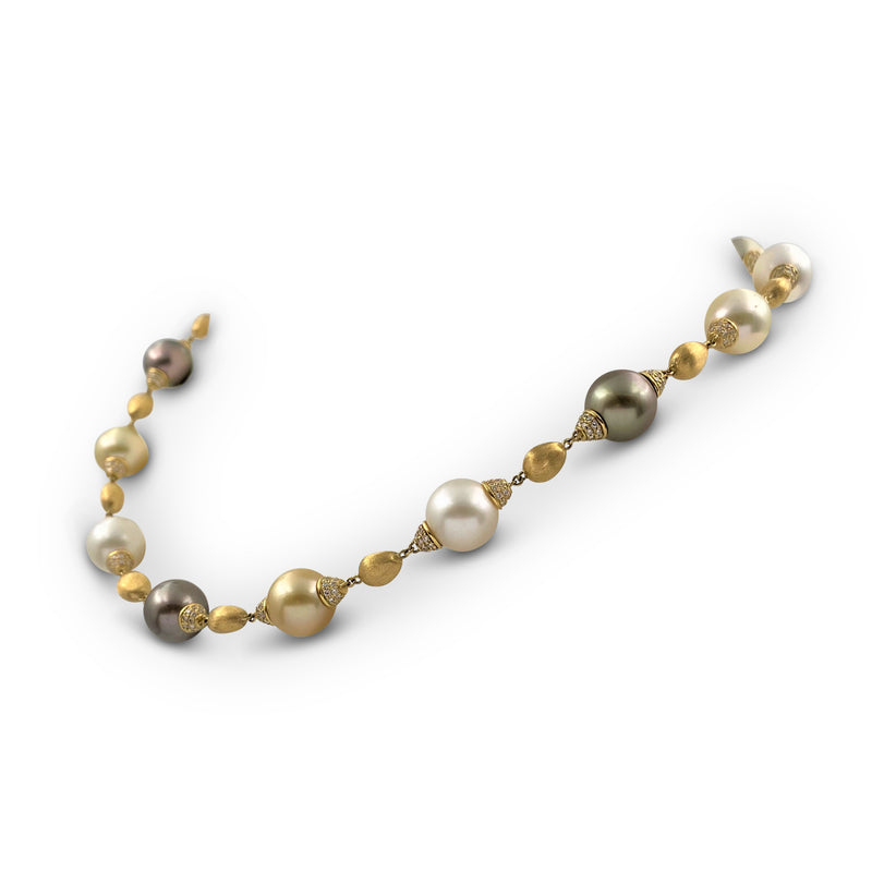 Marco Bicego Yellow Gold Multi-Colored Pearl and Diamond Necklace