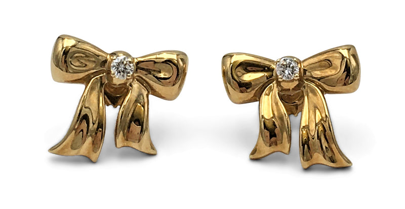 Tiffany & Co. Gold and Diamond Bow Earrings