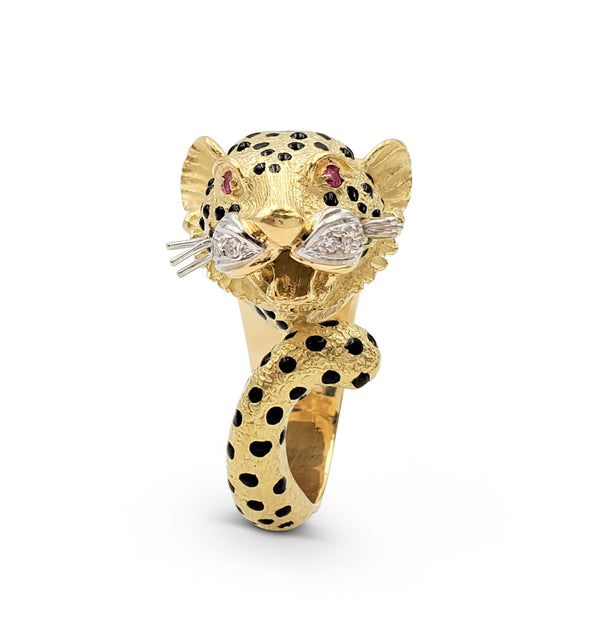 Yellow Gold and Enamel Leopards Head Ring