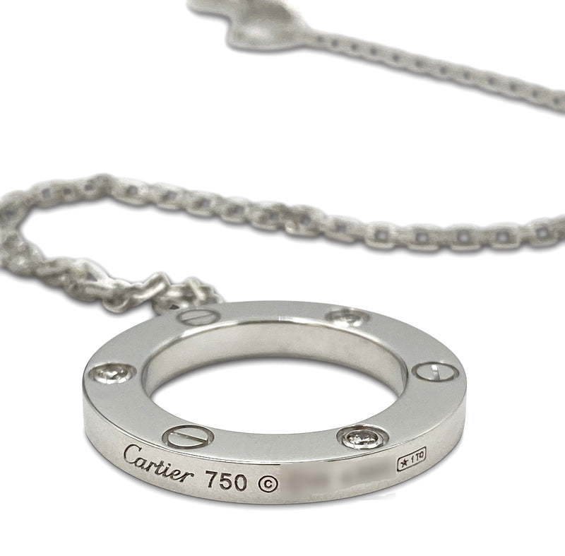 Cartier Love White Gold 3 Diamond Circle Charm Necklace
