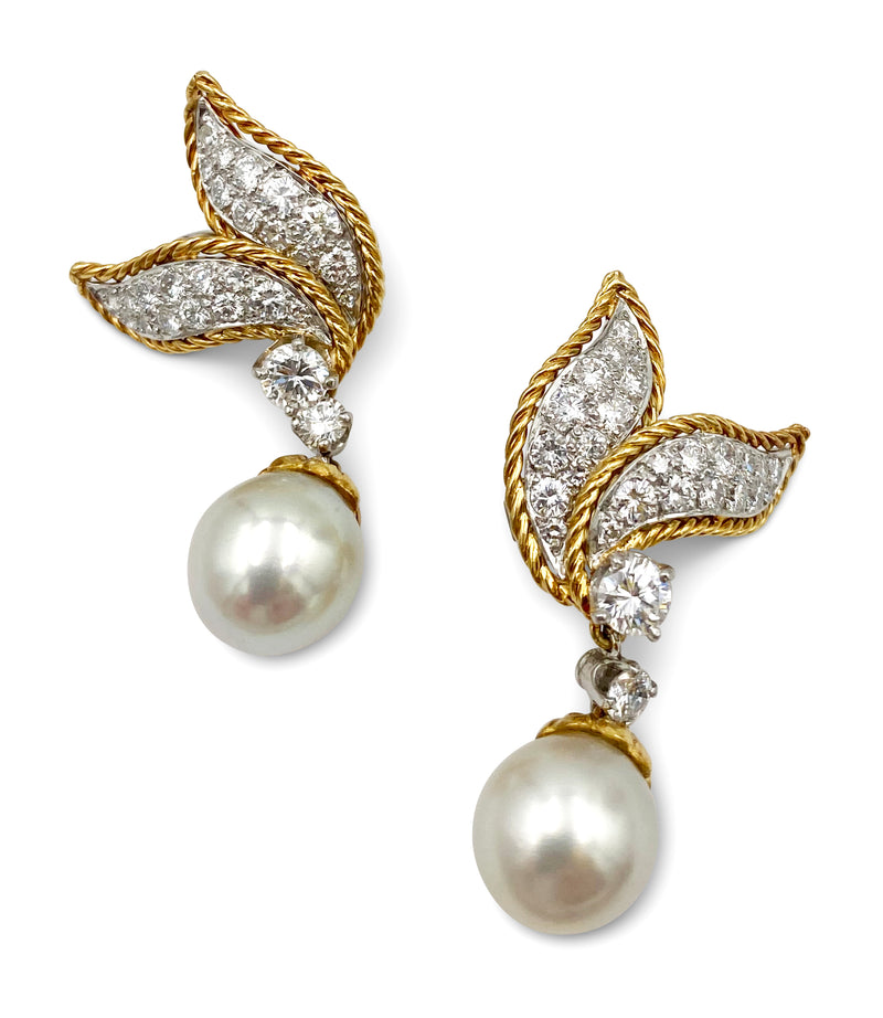 Van Cleef & Arpels Diamond and Pearl Earrings