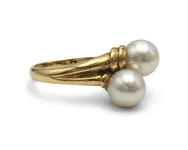 Mikimoto Gold Pearl Bypass Ring