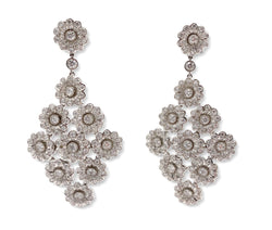 Tiffany & Co. Platinum and Diamond Rose Chandelier Earrings