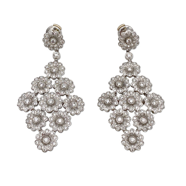 Tiffany & Co. Platinum Diamond Floral Chandelier Earrings
