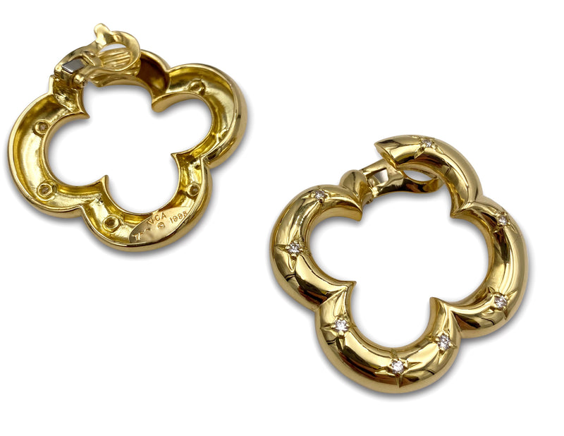 Van Cleef & Arpels Alhambra Gold and Diamond Earrings