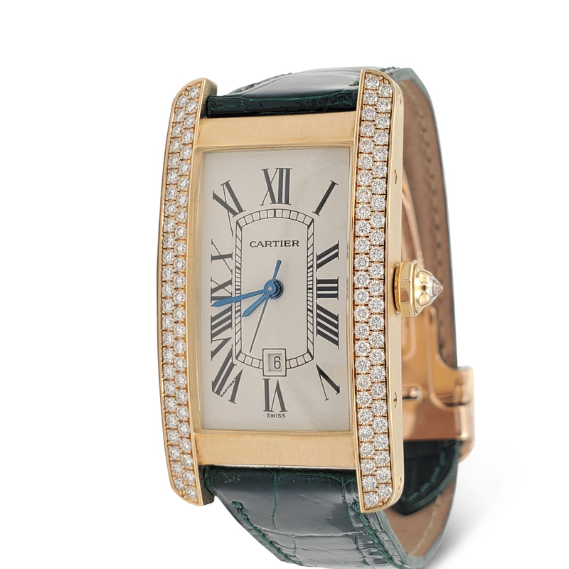 Cartier Tank Américaine Yellow Gold and Diamond Leather Strap Ladies Watch